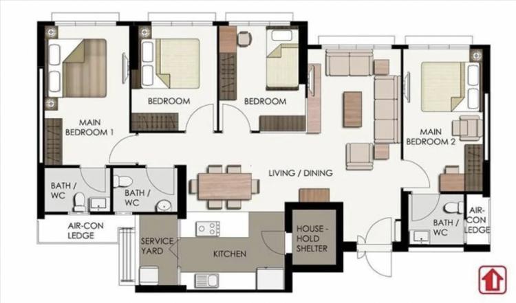 A sample floor plan of a 3Gen flat by HDB