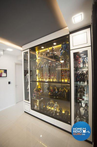 Floor-to-ceiling display cabinets house Adrian's extensive collections