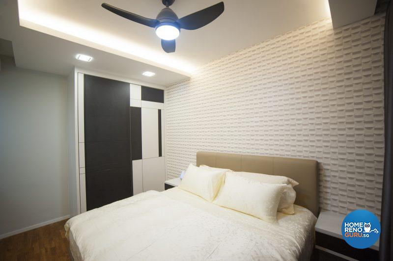 The simple, clean master bedroom is enlivened by an intriguing wallpaper that creates the illusion of actual 3D brickwork
