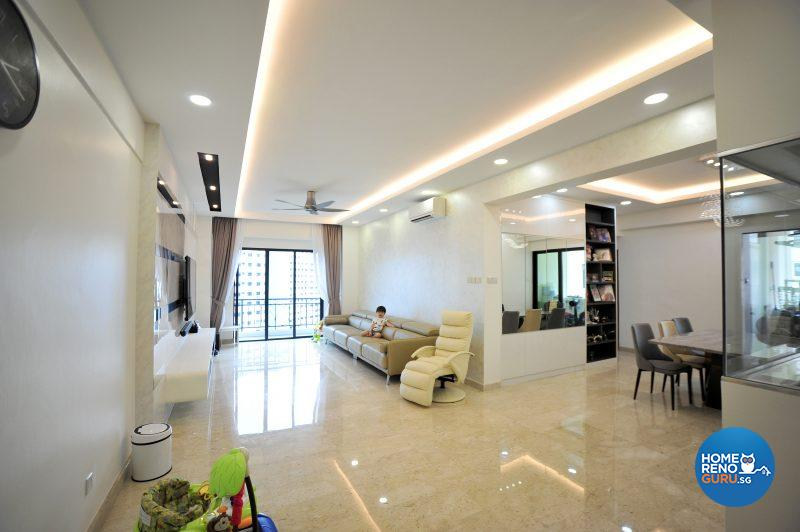 The remarkably spacious open concept living and dining area