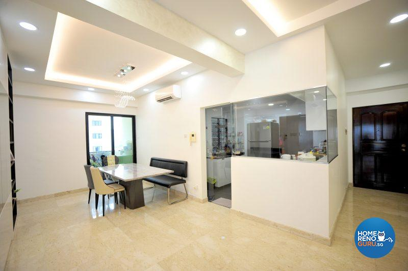 The glass-paneled kitchen allows the family to interact with the chef of the house, Geraldine's father