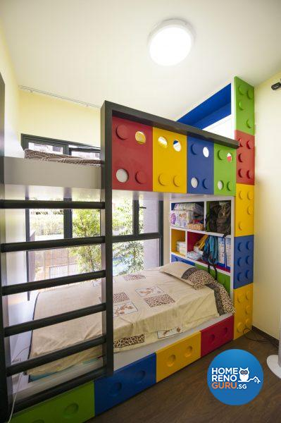 The boys' Lego-inspired room with built-in bunk beds