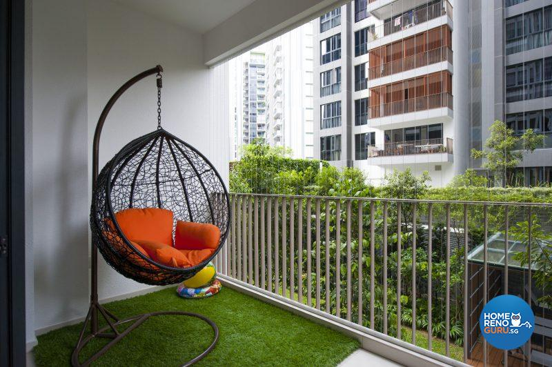 A favourite spot for chilling – the swing chair on the balcony