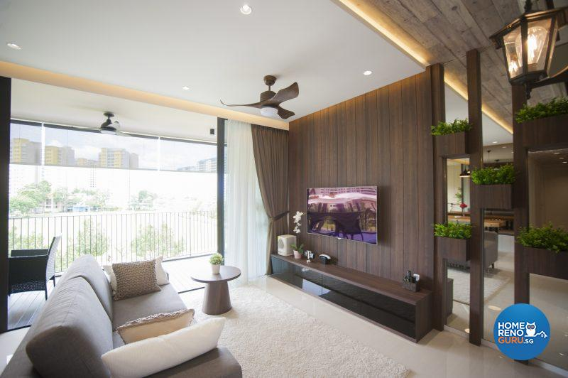 A wooden TV console and warm lighting create a homely and welcoming environment