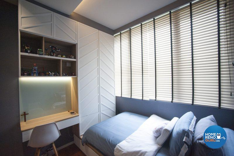 The older son's room features distinctive white wooden panelling over the built-in closet and overhead storage space