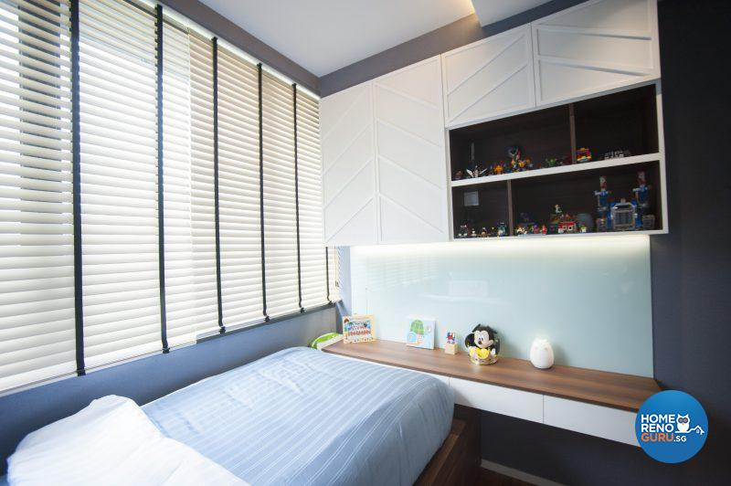 The younger son's room features the same white panelling in his brother's room, only in a different configuration