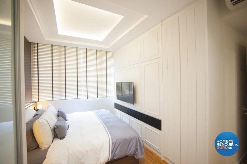 The beautifully illuminated master bedroom conceals an abundance of storage space and a built-in dresser