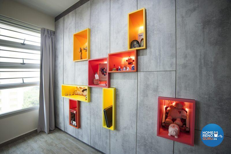 The spotlit niches were brightly painted for feng shui reasons
