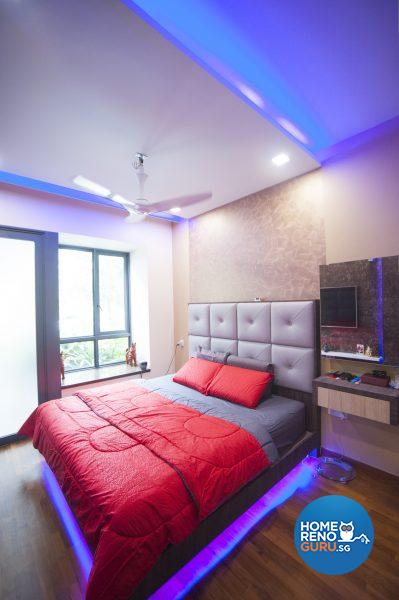 Stunning lighting effects in the master bedroom pair downlights with colour-changing LED cove lights