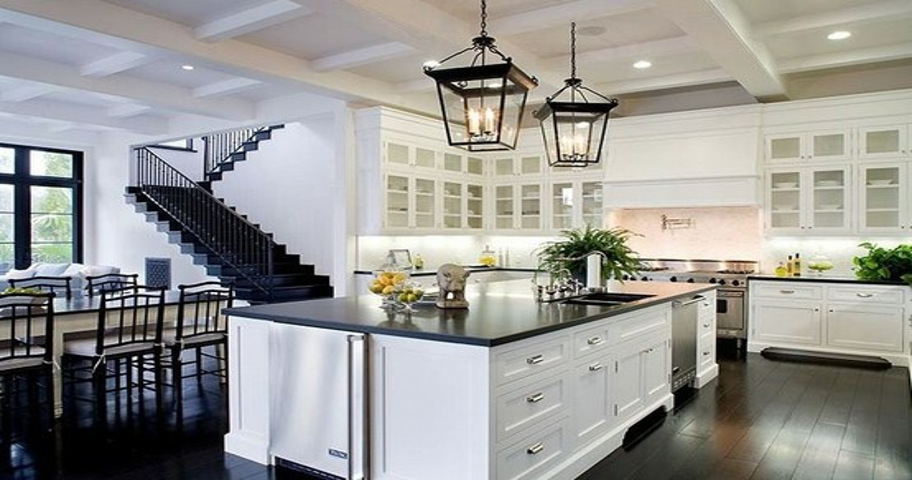 Beautiful kitchen island with Quartz table top