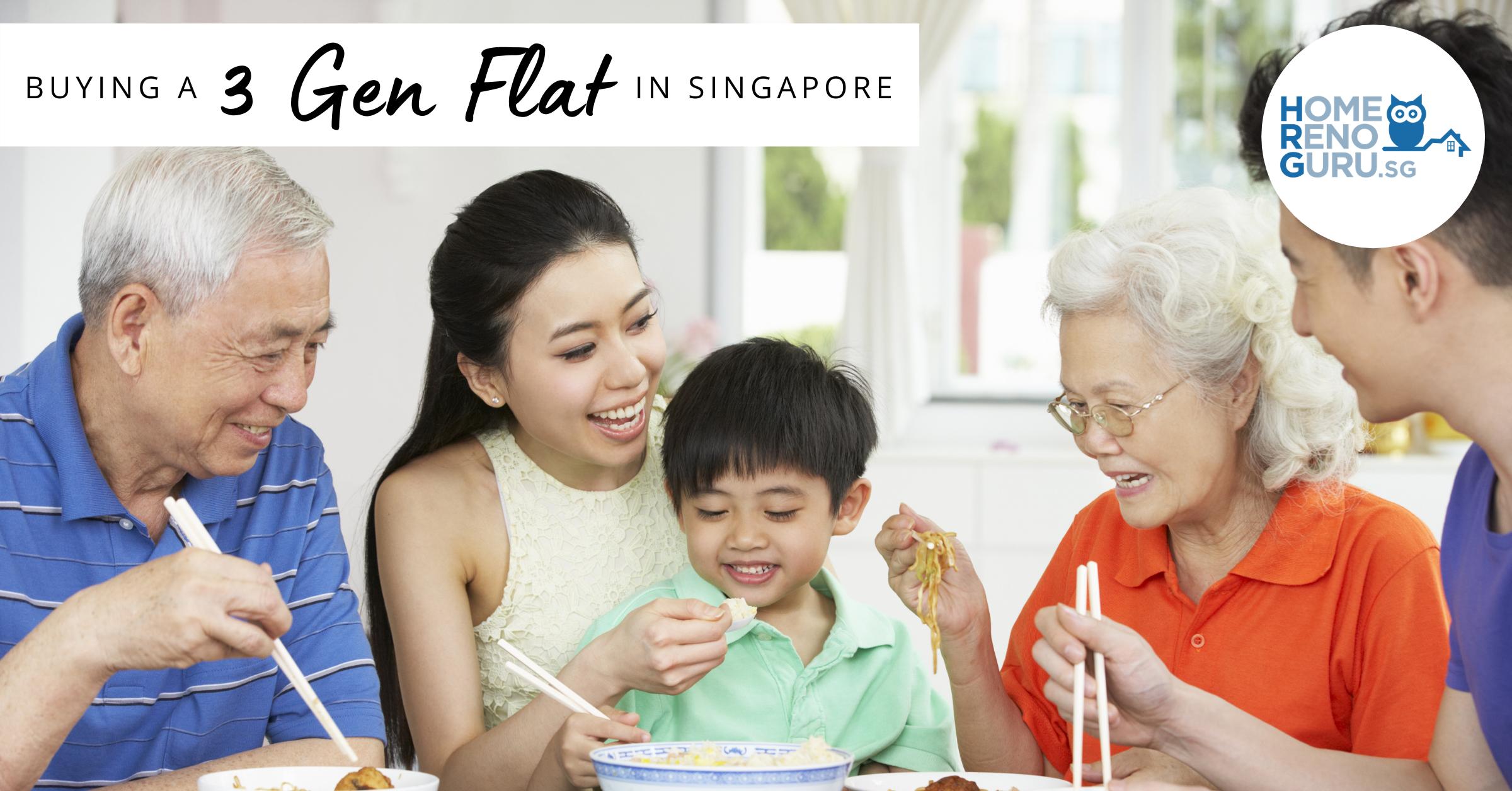 Multigenerational family eating dinner in a 3Gen flat