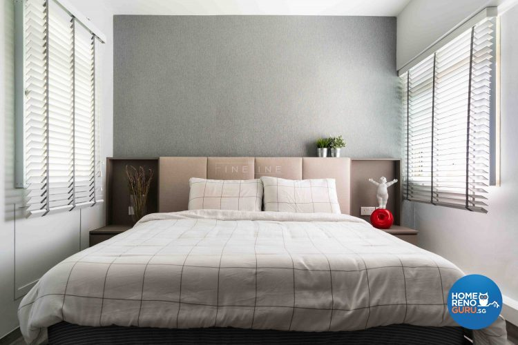 Bed with grid-lines and windows with blinds