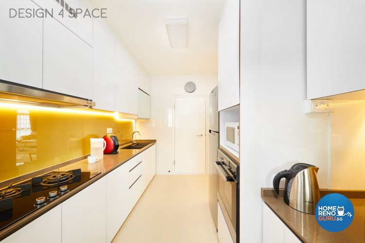 Kitchen with white furniture and shelves and yellow backsplash