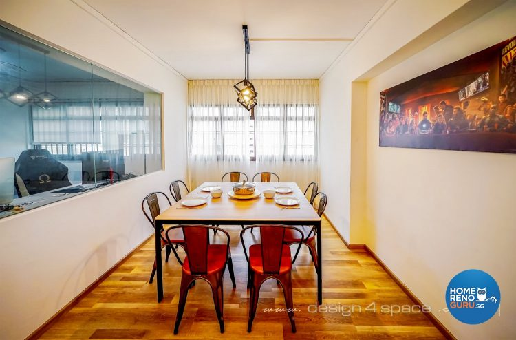 Brown dining table, red chairs and square hanging lights