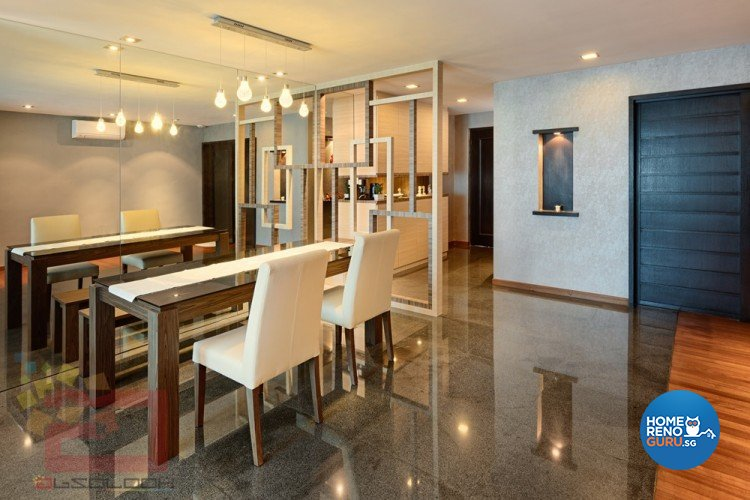 Dining room with white chairs and brown table and wall separator with overlapping rectangles