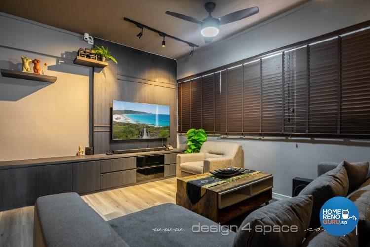 Grey walls and sofa, brown blinds and wall-mounted tv