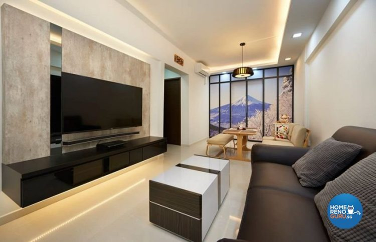 Wall-mounted tv with white and brown coffee table and brown sofa