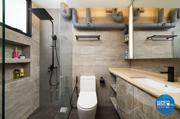 Rain shower, white toilet bowl and brown sink counter