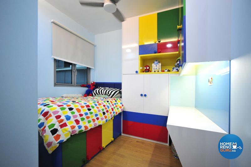 Lego set the theme in Charles' bright, graphic bedroom