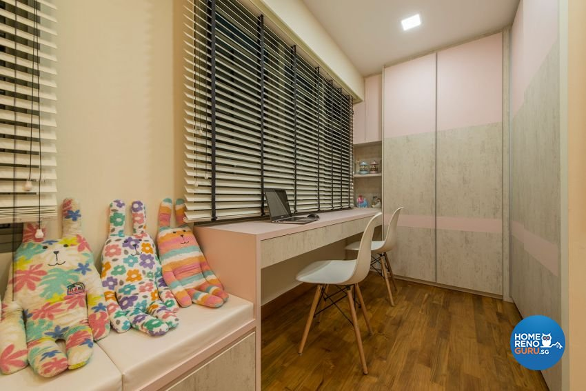Study area/home office in a 4 room HDB designed by Posh Living Interior Design