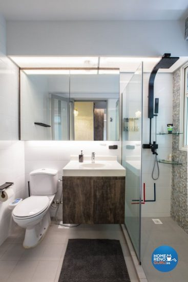Compact toilet with floating sink and vanity installation