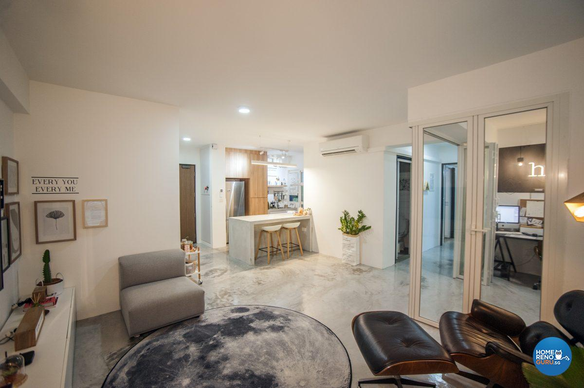 The open concept living and dining area