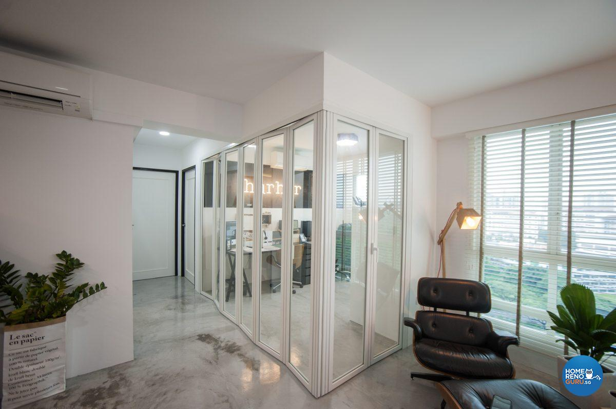A view of the office with the glass doors closed