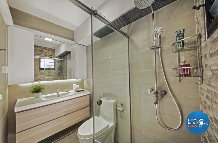 Toilet with a glass shower partition panel
