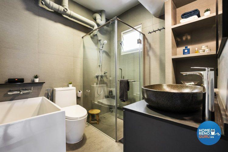 bathroom in 5 room HDB by Fineline Design
