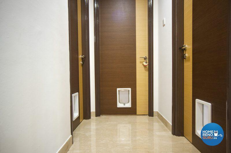 Every internal door has a doggie door for the convenience of Yumi
