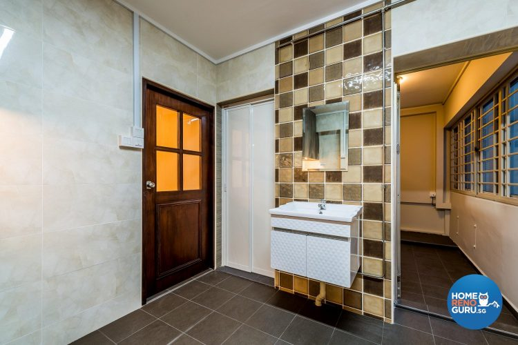 A large bathroom area with separate wet and dry zones