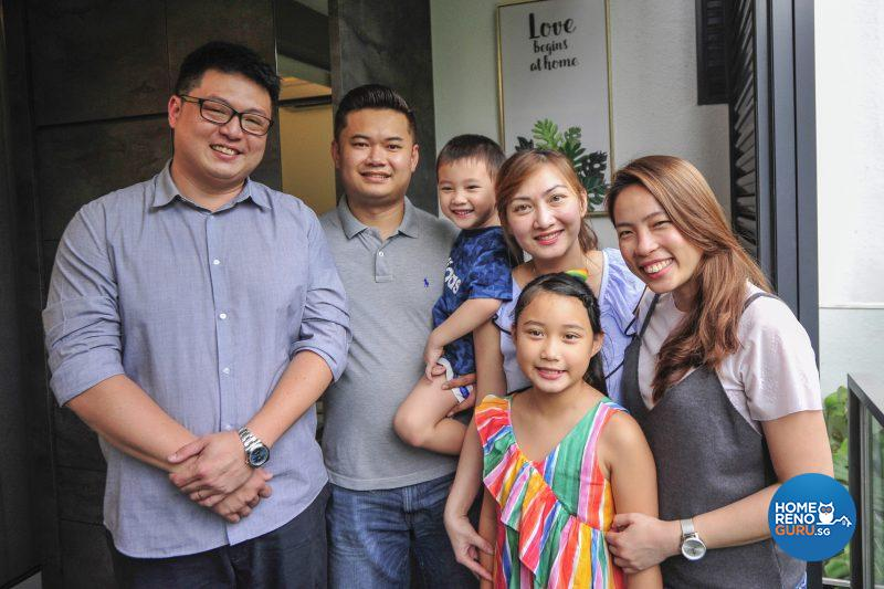 The happy family with Bryan (far left) and Vernice (far right) from Posh Living
