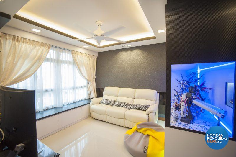 The simple and elegant living area, flanked by an illuminated display cabinet that houses Emi's collectibles