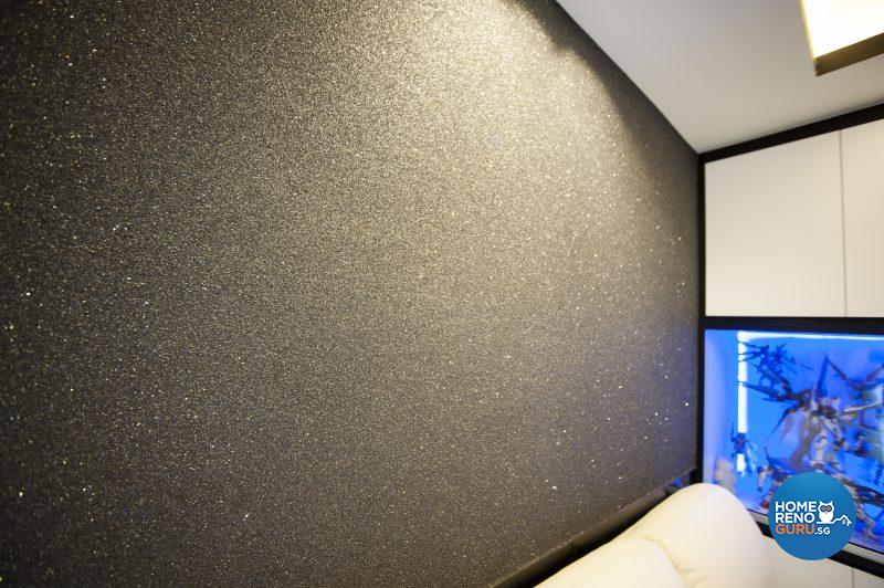 A subtly sparkling textured coating on the feature wall in the living room