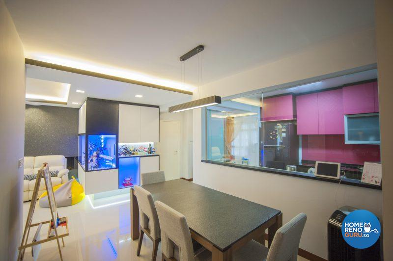 The open concept dining and kitchen area