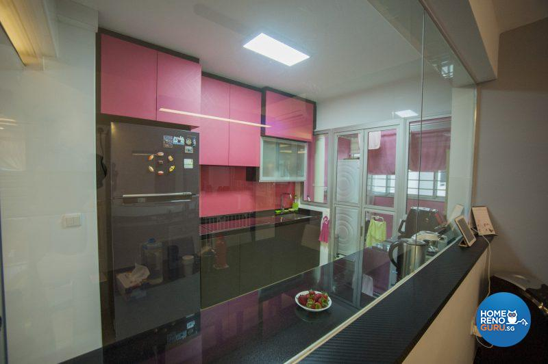 Overhead cabinets and splashback in Cindy's favourite coral pink