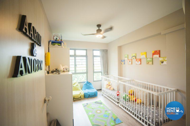 The younger boys' room, complete with cheerful animal-themed artwork