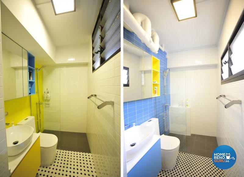 The common bathroom and the master bedroom are more or less identical twins – only the allocation of the blue and yellow has been swapped!