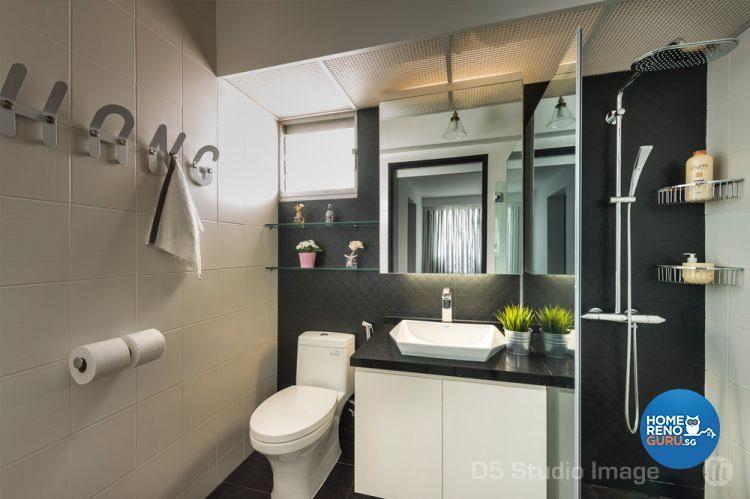 Bathroom with wall-mounted racks and glass shelves