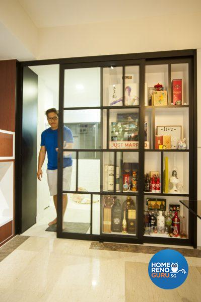 A cleverly designed, dual purpose sliding shelf unit doubles as a door