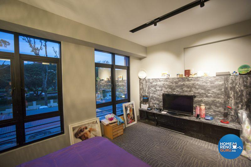 The master bedroom features layered mood lighting and expansive windows