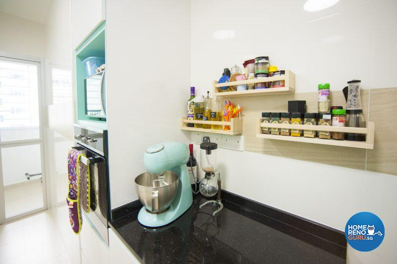 Maximum work surfaces and wall-hung spice racks cater to the needs of the baker in the house –Tiffany