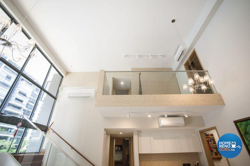 The lofty ceiling and mezzanine level landing
