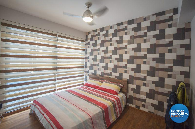 The feature wall in the master bedroom pairs multiple shades of brown with an eye-catching geometrical pattern