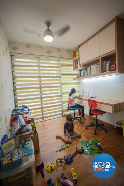 The study for the younger children liberates floor space for playtime!