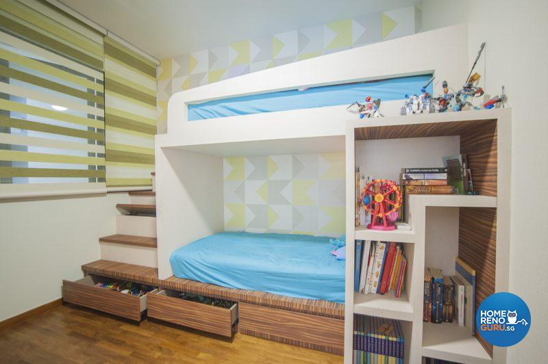 The boys' bedroom includes handy concealed storage space under the stairs to the upper bunk bed