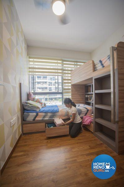 The girls' room features concealed storage under the bed and a groovy retro wallpaper