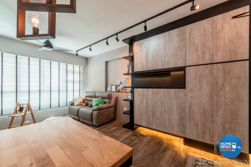 Industrial, Rustic, Scandinavian Design - Living Room - HDB 3 Room - Design by 2nd Phase Design