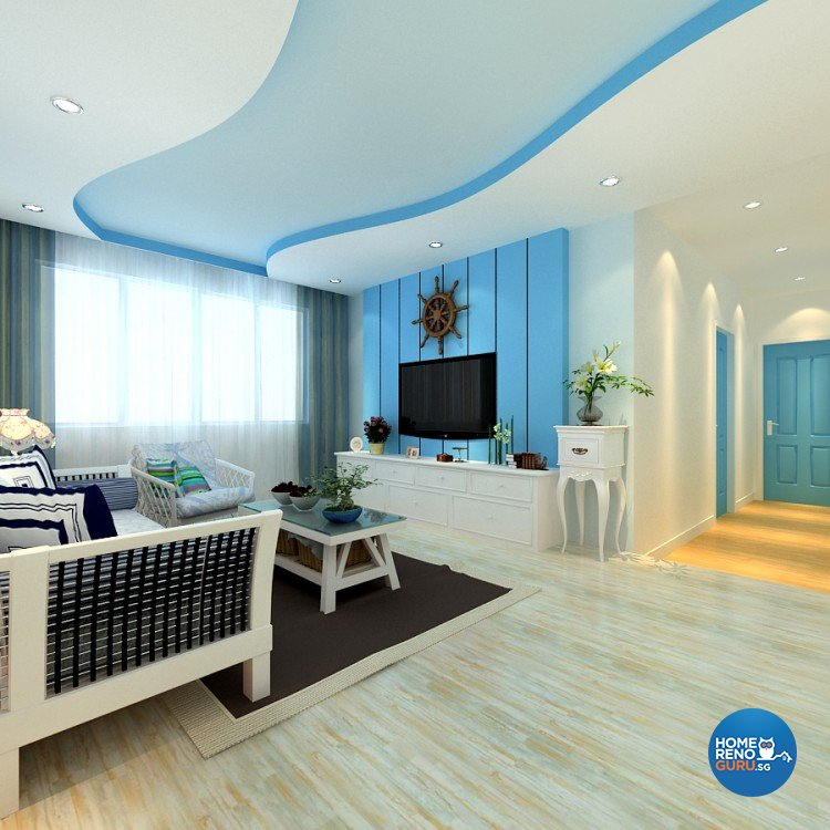 Eclectic Design - Living Room - HDB 4 Room - Design by 4Walls Group Pte Ltd