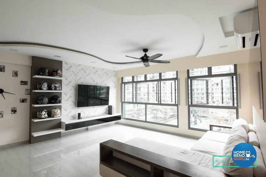 Contemporary, Modern Design - Living Room - HDB 5 Room - Design by 9 Creation Pte Ltd